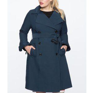 ELOQUII Ruffle Sleeve Navy Blue Trench Coat